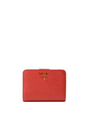 Prada: wallets & purses - Red saffiano compact wallet