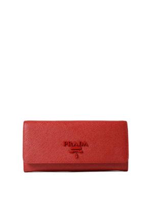 Prada: wallets & purses - Red saffiano continental wallet