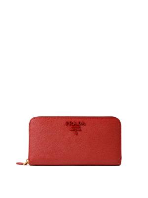 Prada: wallets & purses - Red saffiano zip-around wallet
