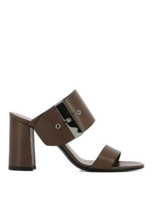 Premiata: sandals - Maxi buckle heeled leather sandals