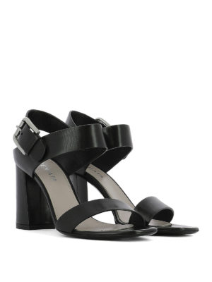 Premiata: sandals online - Maxi buckle heeled leather sandals