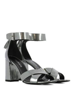 Premiata: sandals online - Patent leather crisscross sandals