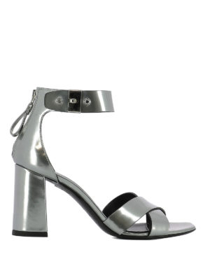 Premiata: sandals - Patent leather crisscross sandals