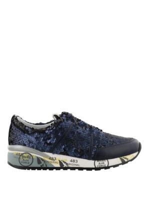 PREMIATA: sneakers - Sneaker Ann in paillettes blu
