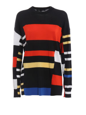 Proenza Schouler: crew necks - Colour block cotton blend sweater