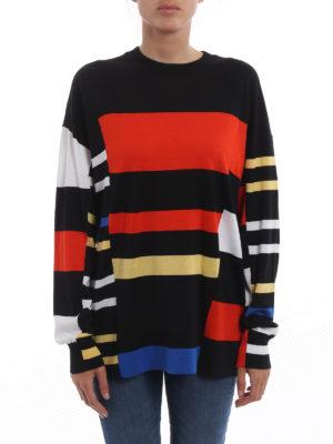 Proenza Schouler: crew necks online - Colour block cotton blend sweater