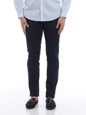 Pt 01: casual trousers online - Micro pattern cotton chino trousers