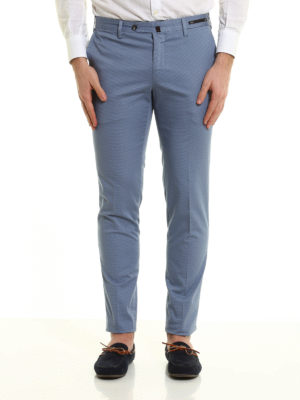 Pt 01: casual trousers online - Micro patterned cotton trousers