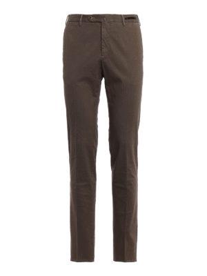 PT 01: pantaloni casual - Pantaloni super slim in cotone beige stampato