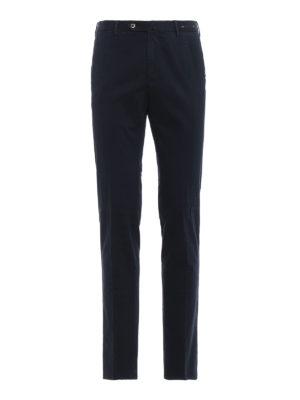 PT 01: pantaloni casual - Pantaloni super slim in cotone stampato blu