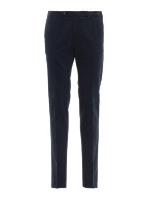 PT 01: pantaloni casual - Pantaloni blu in misto cotone selezionato