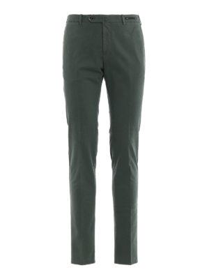 PT 01: pantaloni casual - Pantaloni verdi in misto cotone selezionato