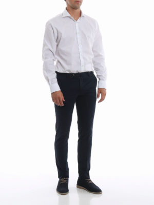 PT 01: pantaloni casual online - Pantaloni blu in misto cotone selezionato