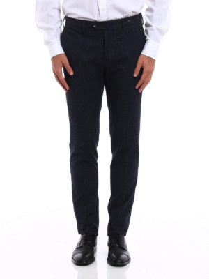 Pt 01: Tailored & Formal trousers online - Patterned fleece cotton trousers