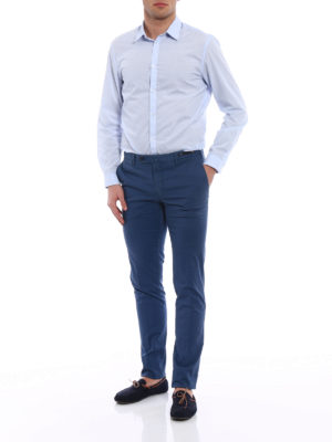 Pt 01: Tailored & Formal trousers online - Spice Route blue Madras chinos