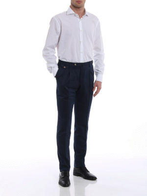 Pt 01: Tailored & Formal trousers online - Wool blend pocket detailed trousers