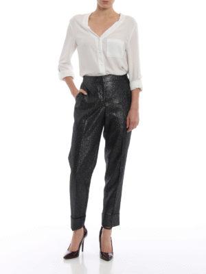 PT0W: Pantaloni sartoriali online - Pantaloni Andrea in lurex con risvolto