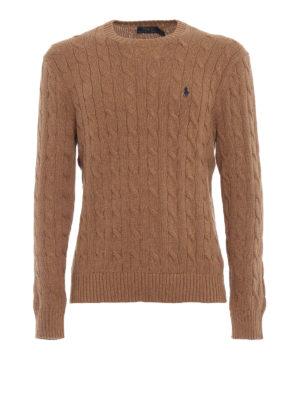 RALPH LAUREN: maglia collo rotondo - Girocollo cammello in cotone a trecce