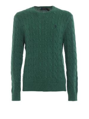 RALPH LAUREN: maglia collo rotondo - Girocollo verde in cotone a trecce