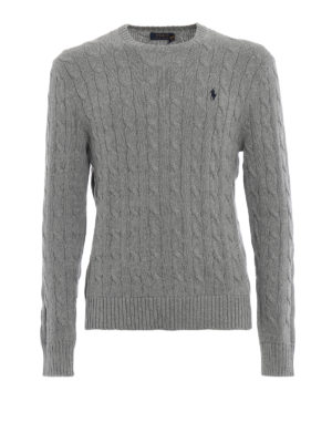 RALPH LAUREN: maglia collo rotondo - Girocollo grigio in cotone a trecce