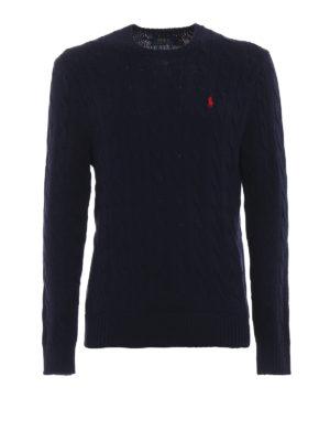 RALPH LAUREN: maglia collo rotondo - Girocollo blu navy in cotone a trecce