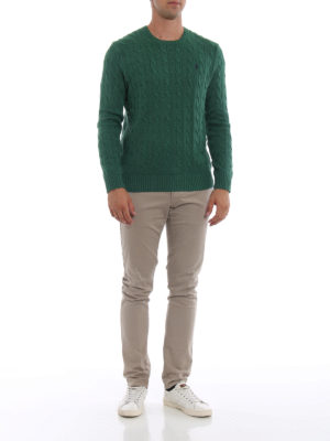 RALPH LAUREN: maglia collo rotondo online - Girocollo verde in cotone a trecce