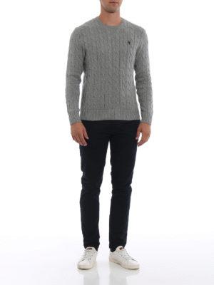 RALPH LAUREN: maglia collo rotondo online - Girocollo grigio in cotone a trecce