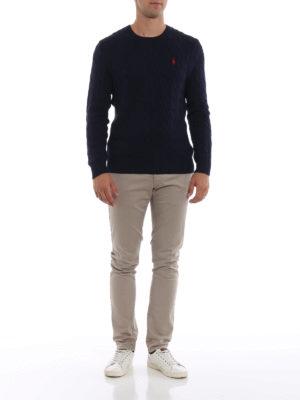 RALPH LAUREN: maglia collo rotondo online - Girocollo blu navy in cotone a trecce