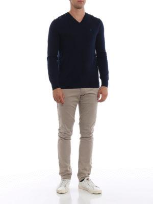RALPH LAUREN: maglia collo a v online - Pull blu navy a V in lana pettinata