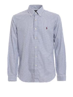 RALPH LAUREN: camicie - Camicia in cotone a quadri blu