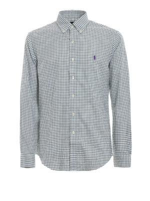 RALPH LAUREN: camicie - Camicia in cotone a quadri verdi