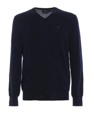 RALPH LAUREN: maglia collo a v - Pull blu navy a V in lana pettinata