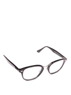RAY-BAN: Occhiali - Occhiali ovali neri con ponte in metallo