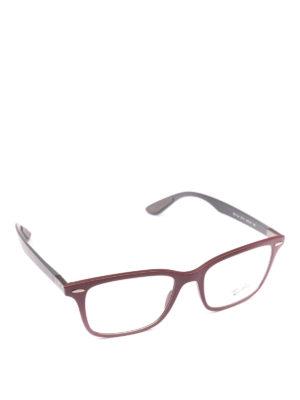 RAY-BAN: Occhiali - Occhiali rettangolari montatura burgundy