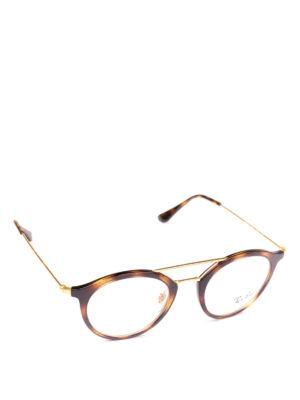 RAY-BAN: Occhiali - Occhiali ovali tartaruga con doppio ponte
