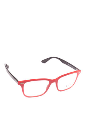 RAY-BAN: Occhiali - Occhiali rettangolari montatura rosso e nero