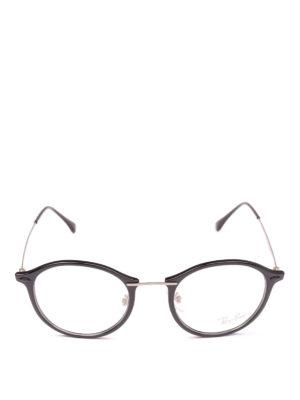 RAY-BAN: Occhiali online - Occhiali tondi in acetato nero e metallo