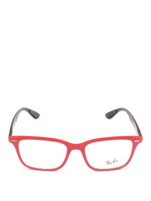 RAY-BAN: Occhiali online - Occhiali rettangolari montatura rosso e nero
