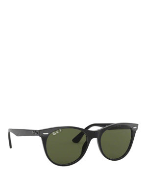 RAY-BAN: sunglasses - Green lens black acetate sunglasses