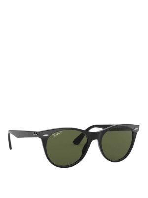 RAY-BAN: occhiali da sole - Occhiali in acetato nero con lenti verdi