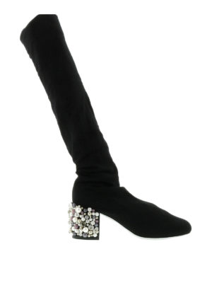 Rene Caovilla: boots - Embellished stretch knit boots