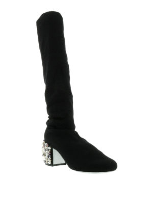 Rene Caovilla: boots online - Embellished stretch knit boots