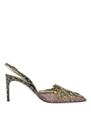 Rene Caovilla: court shoes - Embellished lace slingback pumps