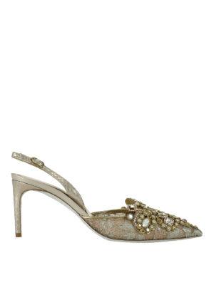 Rene Caovilla: court shoes - Jewel lace slingback pumps