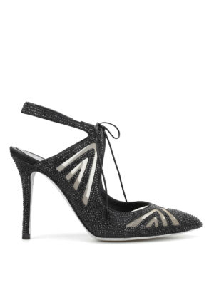 Rene Caovilla: court shoes - Laced-up jewel sling-back pumps