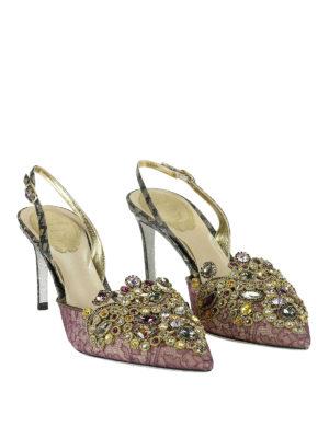 Rene Caovilla: court shoes online - Embellished lace slingback pumps
