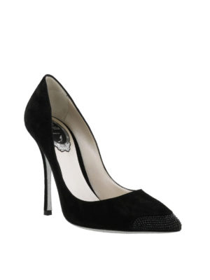 Rene Caovilla: court shoes online - Rhinestone embellished suede pumps