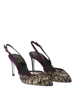 Rene Caovilla: court shoes online - Slingback pumps with rhinestones