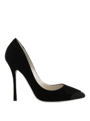 Rene Caovilla: court shoes - Rhinestone embellished suede pumps
