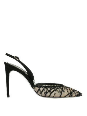 Rene Caovilla: court shoes - Rhinestones detail slingback pumps